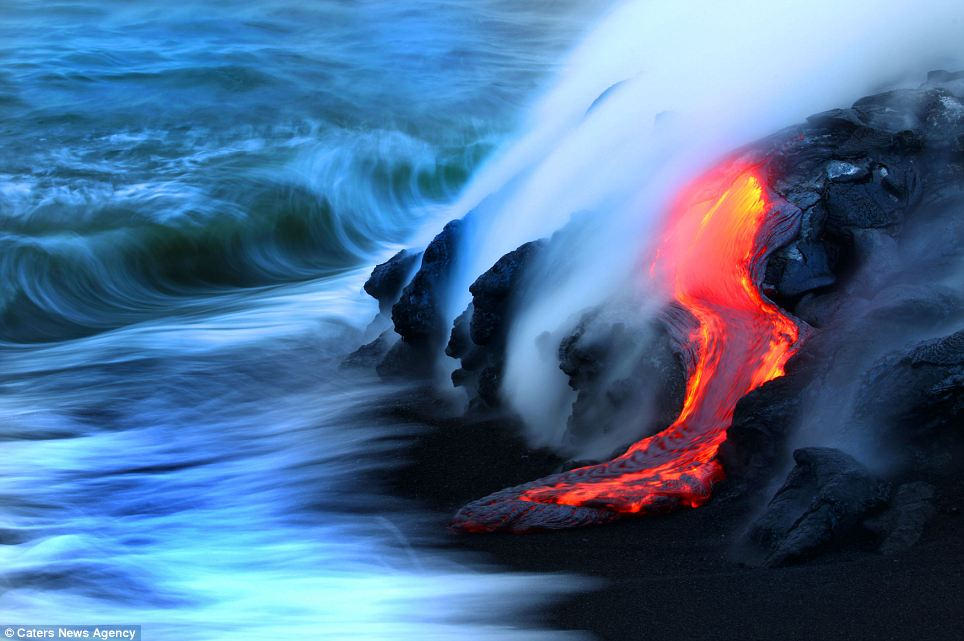 Hot Lava Crashes into the Ocean in Hawaii