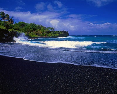 Black Sandy Beach in Hawaii