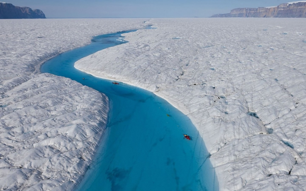 Kayaking in the Crystal Clear Blue River in Greenland