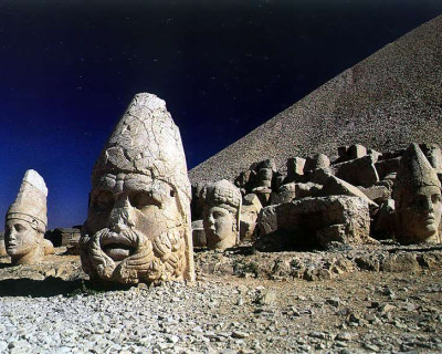See the Ancient Statues Near the Royal Tomb on the Mount Nemrut, Turkey