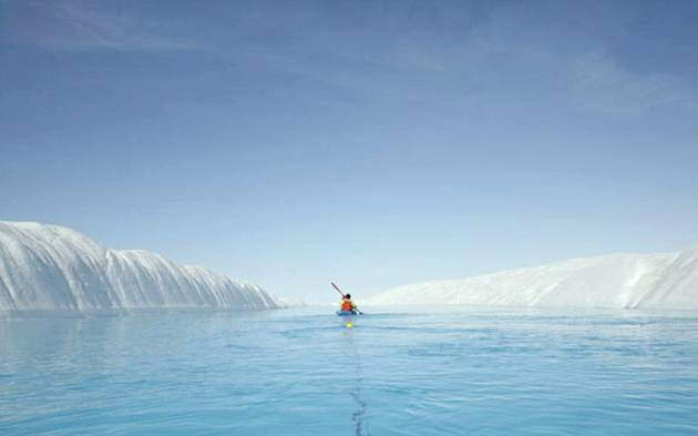 Kayaking in Crystal Clear Blue River in Greenland