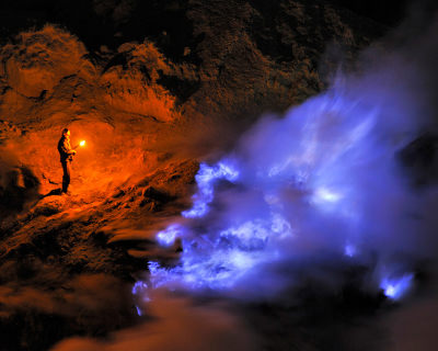 Blue Flames in the Kawah Ijen Volcano, Indonesia