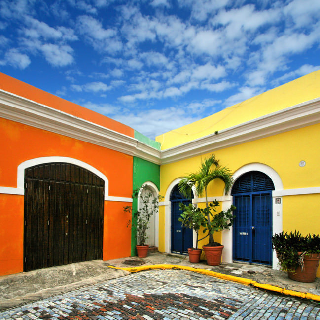 Colorful streets and houses in old san juan puerto rico for House plans puerto rico