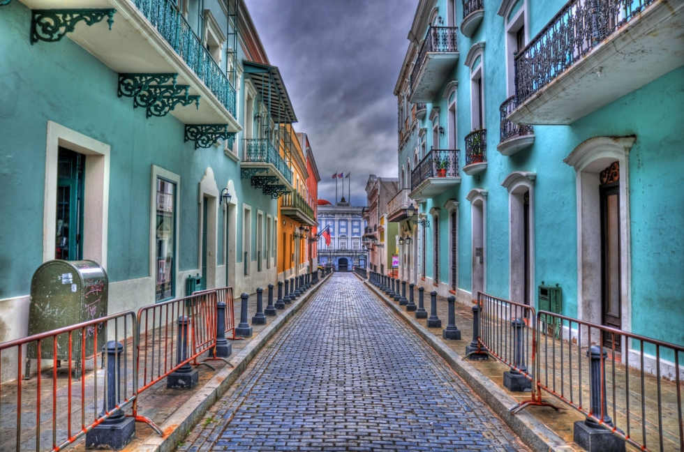 Colorful Streets and Houses in Old San Juan, Puerto Rico