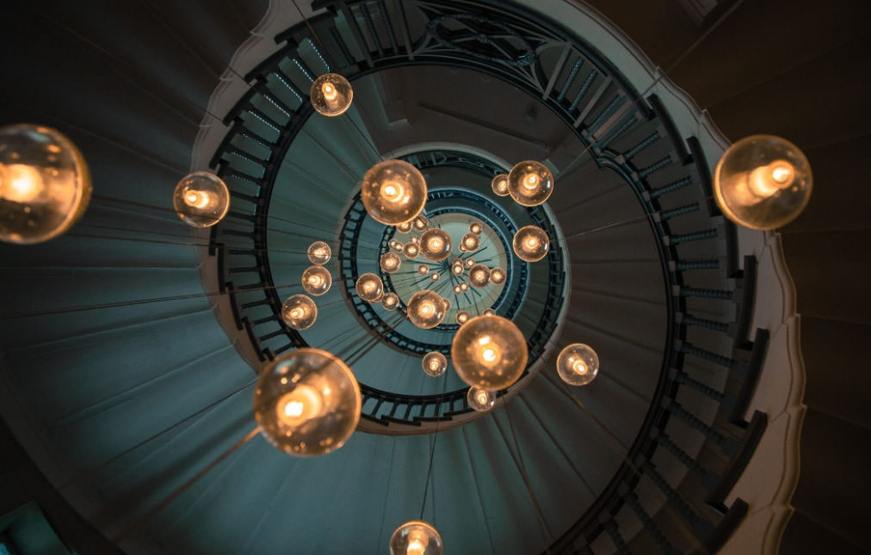The Famous Spiral Staircase in Heal's, London, UK