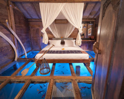 Antique Villas with Glass Floor in Bambu Indah Resort, Bali