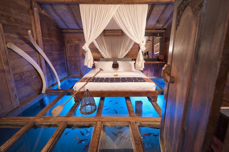 Antique Villas with Glass Floor in Bambu Indah Resort, Bali