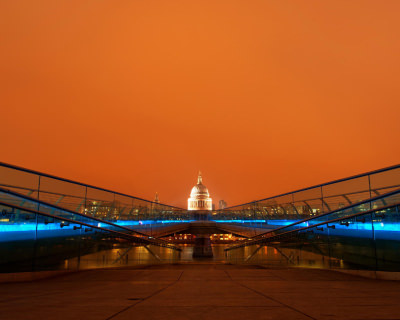 The Dazzling Millennium Bridge in London, England