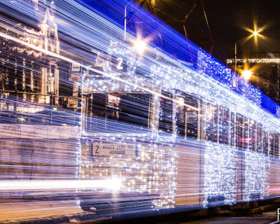 Futuristic Lit Up Trams in Budapest, Hungary