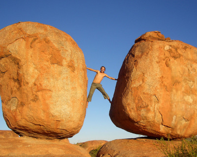 Precariously Balancing Devils Marbles in Northern Territory, Australia
