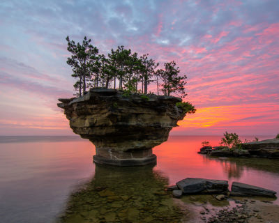 Turnip Rock – a Rocky Remote Islet on Lake Huron, USA