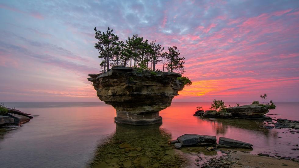 Turnip Rock – a Rocky Remote Islet on Lake Huron, USA