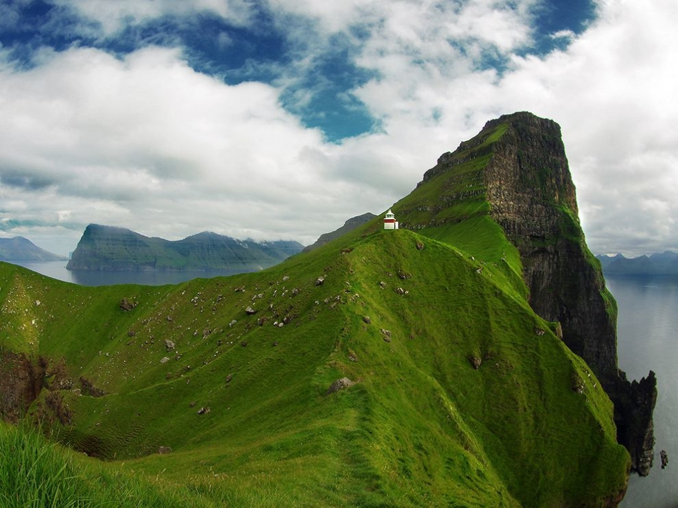 Kallur Lighthouse and Fascinating Landscape of Kalsoy, the Faroe Islands