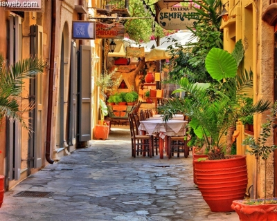 The Romantic Old Town of Chania in Crete, Greece