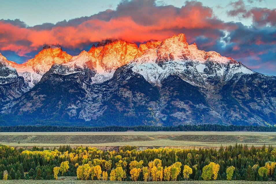 Unspoiled Nature and Snowy Peaks in The Teton Range, USA
