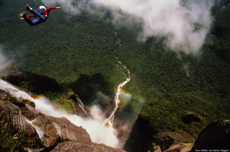 BASE jumper leaping off Angel Falls, Venezuela