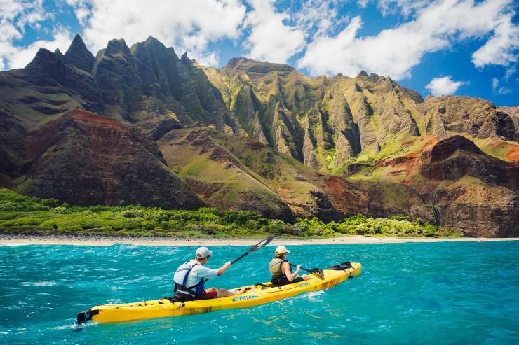 Kayaking on the Napali Coast, Kauai, HI