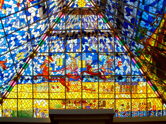 UAE - Dubai: stained glass - Wafi Center roof detail - photo by Llonaid