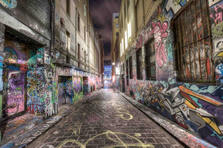 Whenever you go to Hosier Lane you will find somebody taking a photos of this unique area, including Rutledge Lane as well. It is a square of about 200 metres, you walk around and you see just graffiti, some awesome ones as well as some less impressive ones, however overall a great place to visit. This is not by any mean a secret spot. The only suggestion I can give is to visit it off peak time, which is either in the night or in the early hours of the morning, just after sunrise, otherwise your photos will be including many other photographers :D
