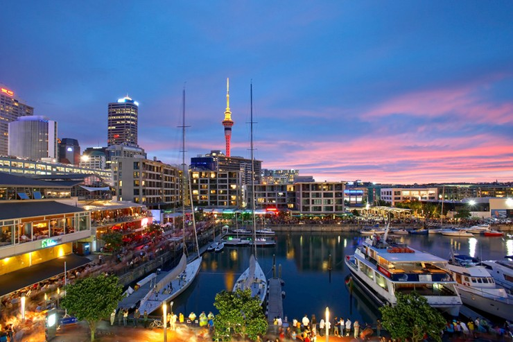 Sunset at Auckland Harbour Festival 2006. Viaduct Basin. Auckland. New Zealand