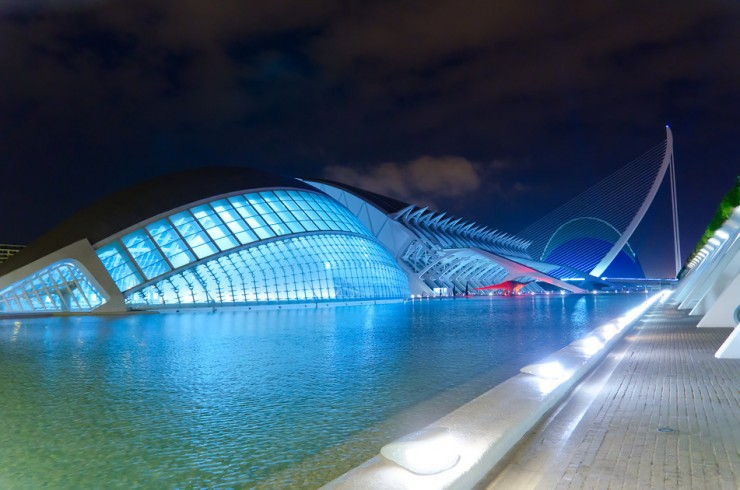 night view of City of the arts and sciences at Valencia, Spain