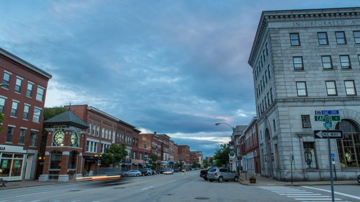 Main Street at dusk in Concord, New Hampshire.