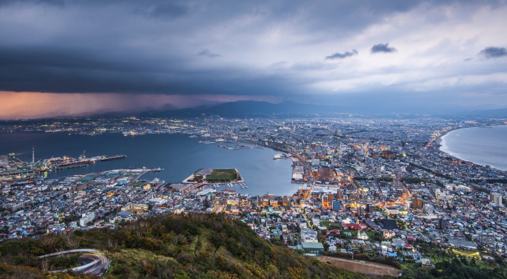 Hakodate, Japan viewed from Hakodate Mountain.
