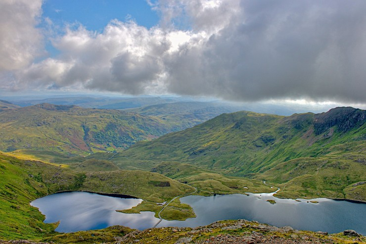 Looking out from the approach to Crib Goct from Pen Y Pas, over Llyn Llydaw