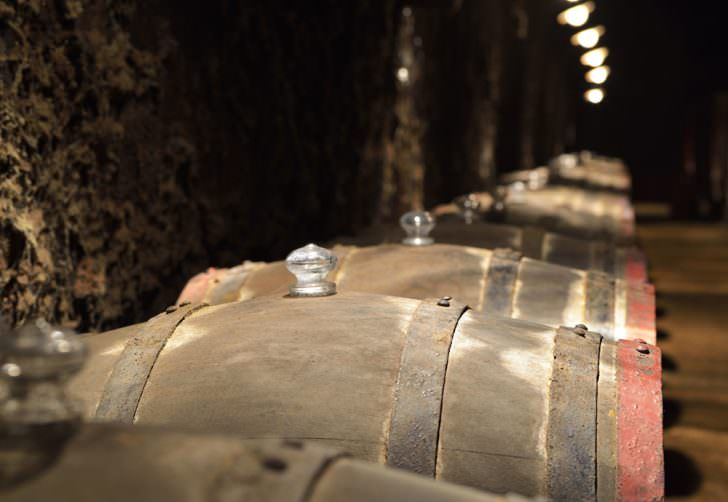 Barrels of wine in an old wine cellar, Eger