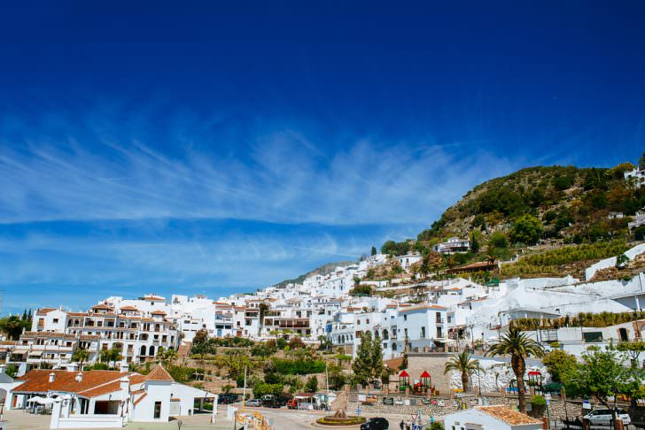 Landscape of Frigiliana, white town on the Costa del Sol, Malaga