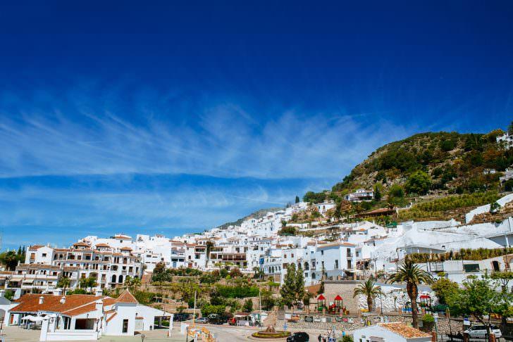 Landscape of Frigiliana, white town on the Costa del Sol, Malaga
