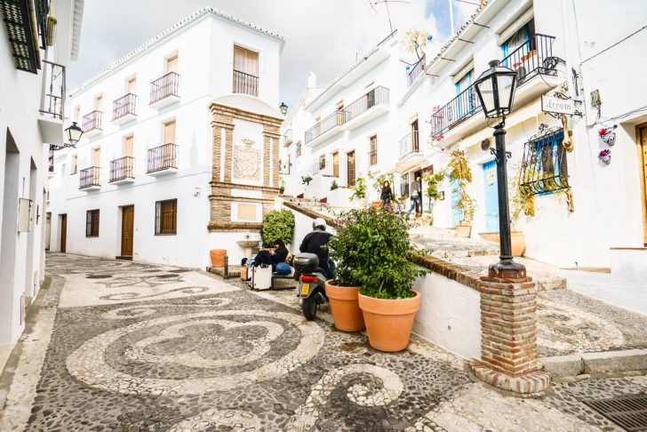 Picturesque street of Frigiliana in Costa del Sol, Malaga