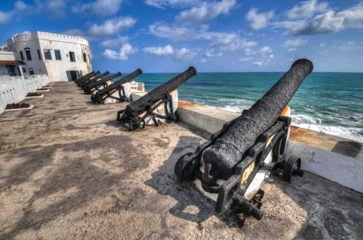Ghana Cannons overlooking from Cape Coast Castle, a fortification in Ghan