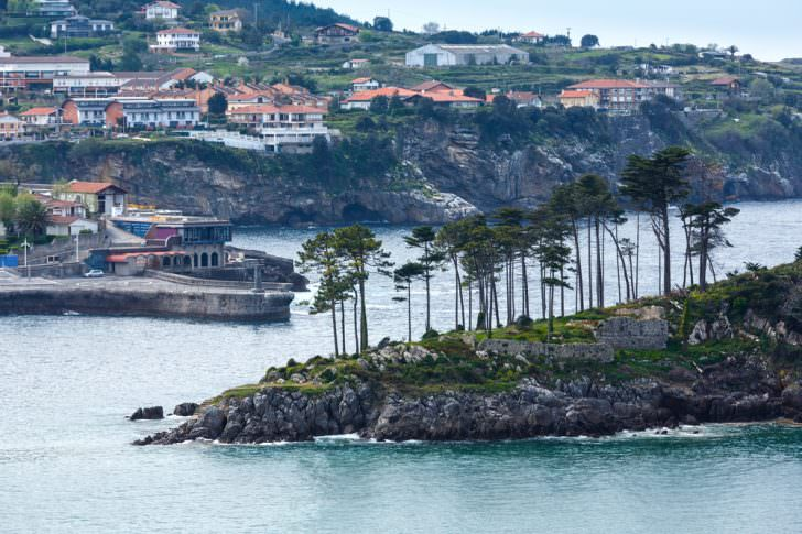 Lekeitio town coastline and San Nicolas island, Biscay, Spain, Basque Country