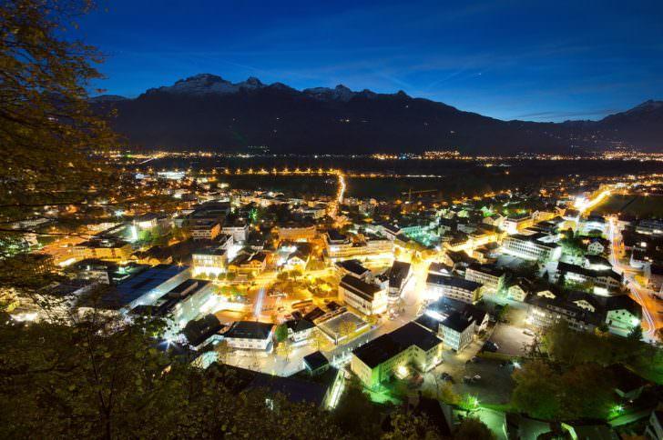 Vaduz, Liechtenstein at night