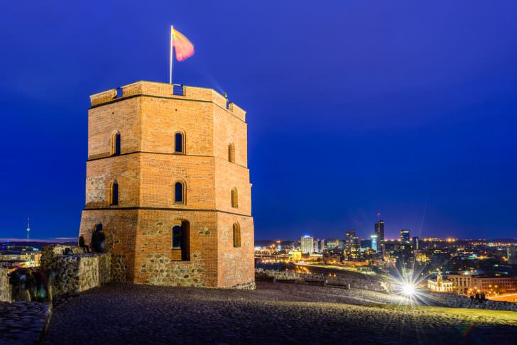 Night view from Tower of Gediminas in Vilnius, Lithuania