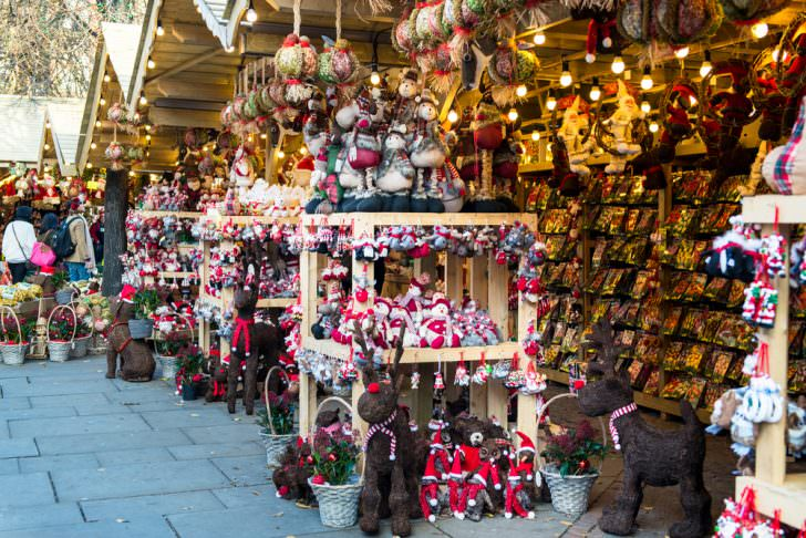 Christmas Market near Town Hall on Albert Square in Manchester