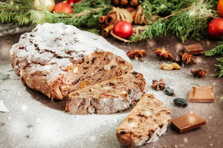 Slices of Chocolate Stollen sprinkled with powdered sugar
