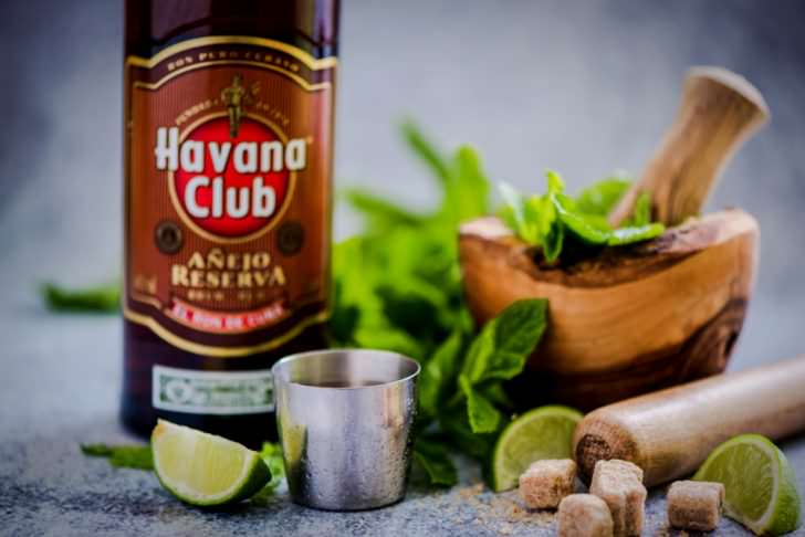 Bottle of Havana Club rum. Established in 1878 in Cuba, Havana Club is the world's No.3 international rum brand.