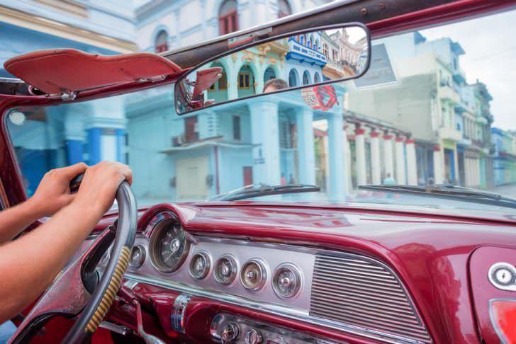 Inside Old Car in Havana, Cuba