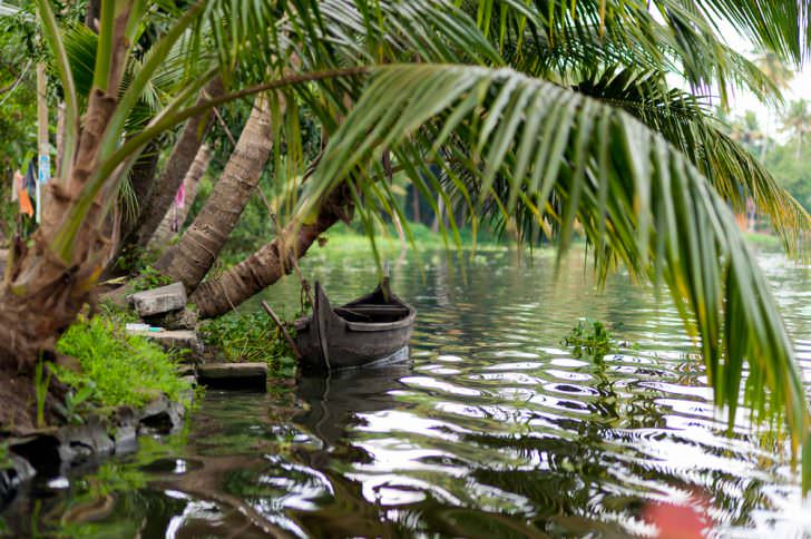 Kerala Old traditional boat on a river