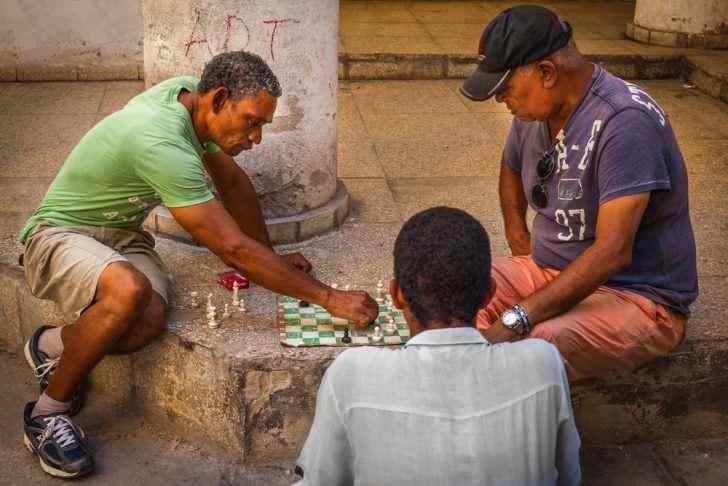 Playing chess in street, Old Havana, Cuba.