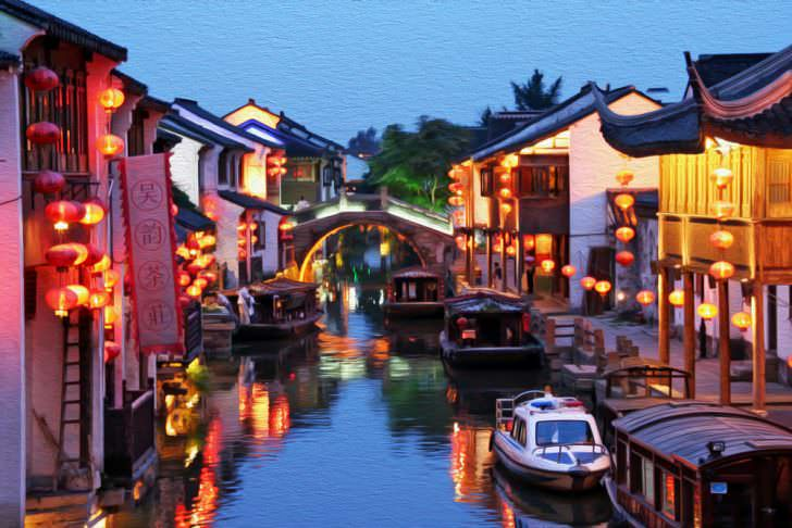 Suzhou old town in the evening