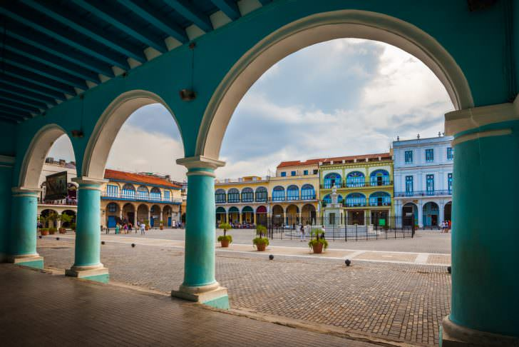 The Plaza Vieja in Havana, Cuba.