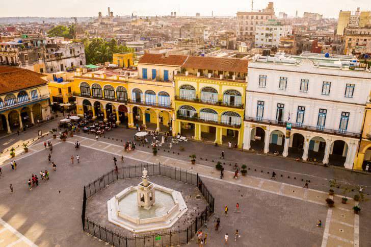 View of Plaza Vieja in Havana, Cuba.