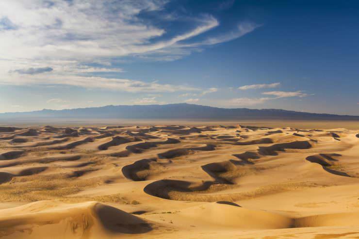 Beautiful view of the dunes of the Gobi Desert. Mongolia