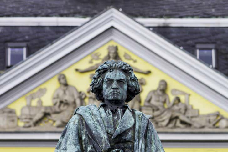 Beethoven Monument in front of the old Post of Bonn, Germany