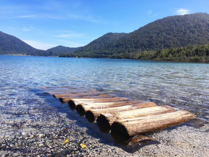 New Zealand, Rotorua, View of Blue Lake