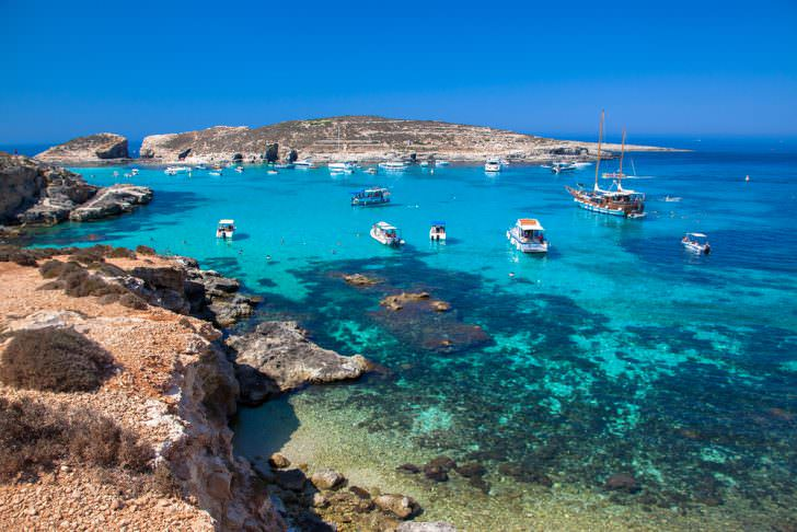 Blue lagoon at Comino island, Malta