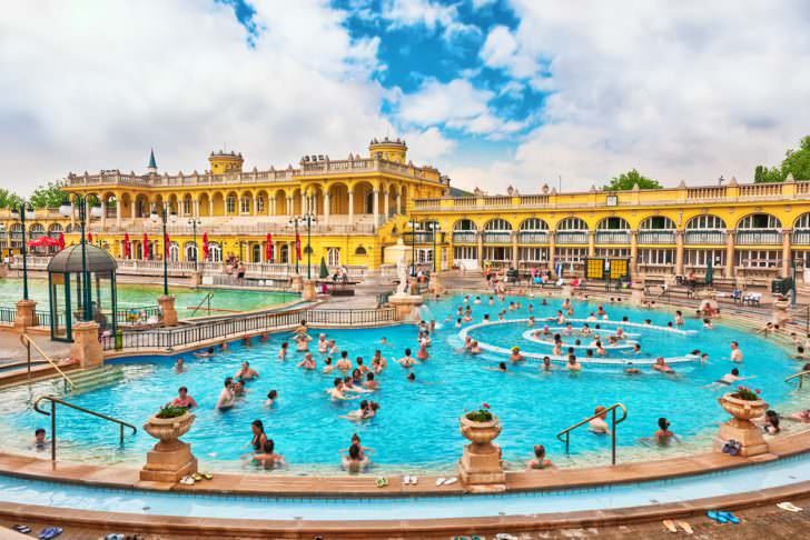 Courtyard of Szechenyi Baths, Budapest, Hungary